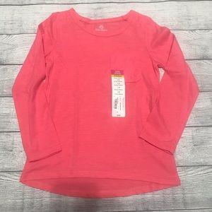 Okie Dokie Pink Long Sleeve Lace Pocket Shirt